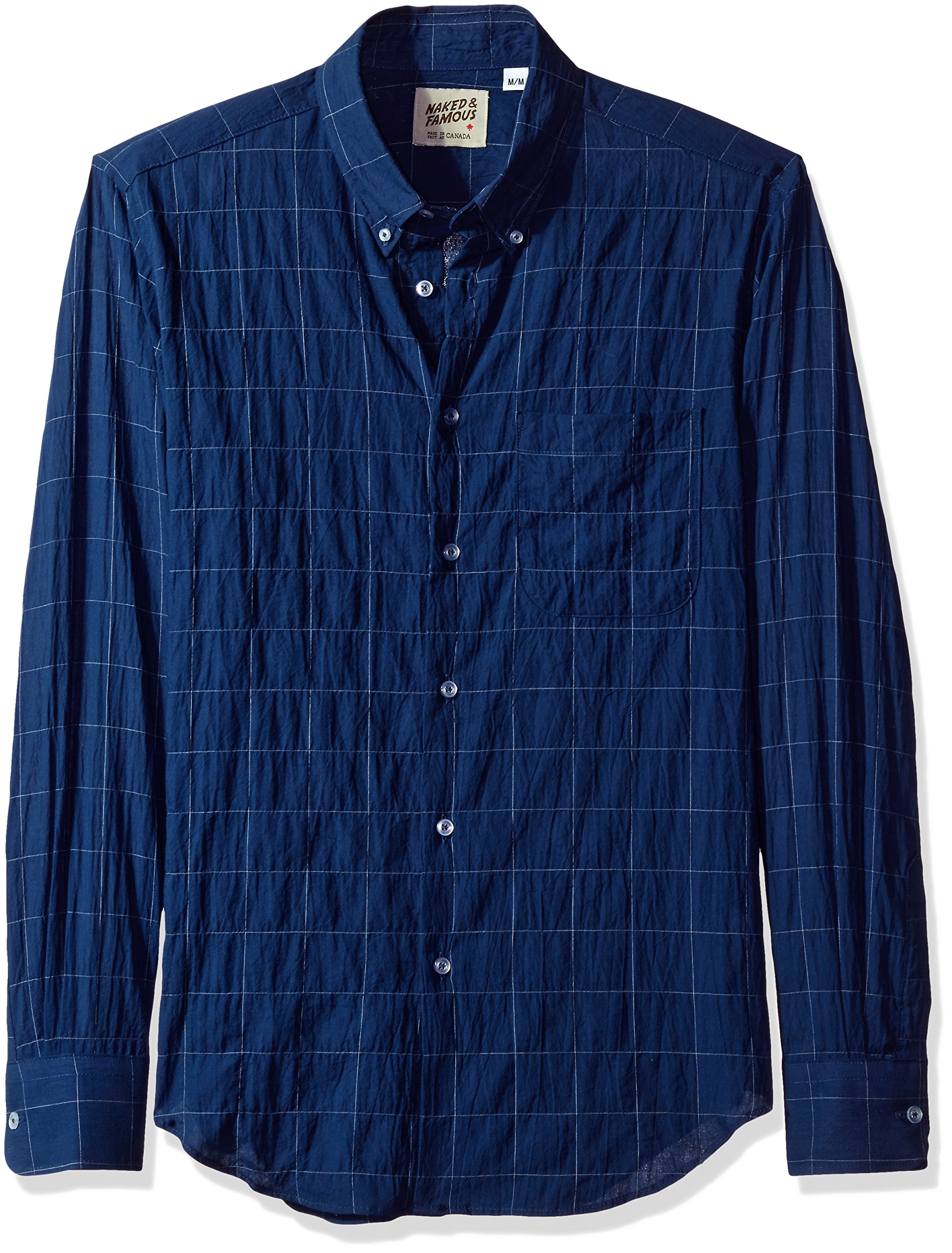 Naked & Famous Denim Men's Lightweight Windowpane Long Sleeve Button Down Shirt, Navy, Large