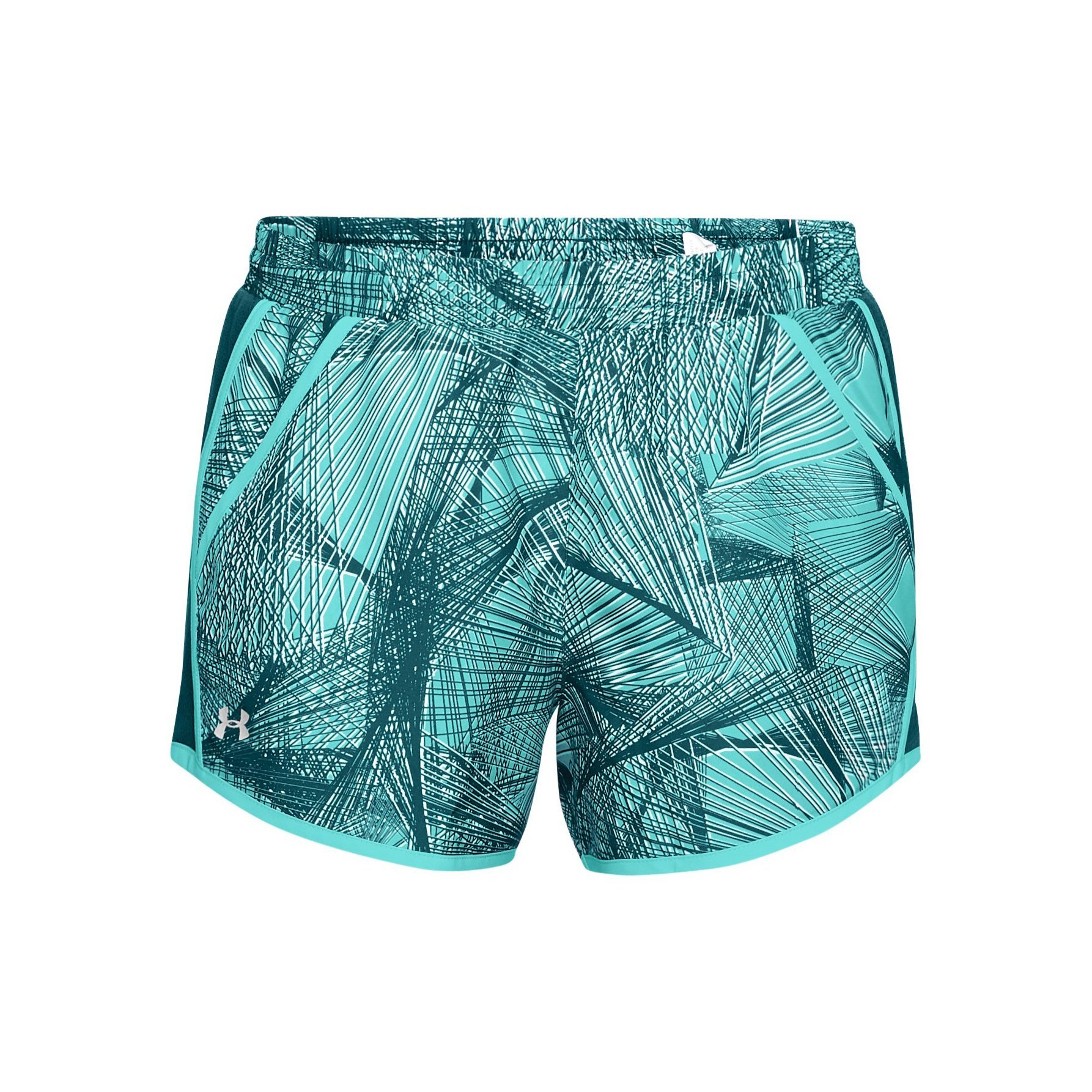 Under Armour Women's Fly-by Printed Shorts, Tropical Tide (425)/Reflective, X-Small