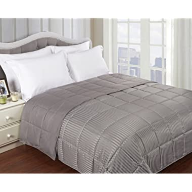 Superior Reversible Down Alternative Blanket, Bed Blanket and Oversized Throw Blanket with Silky Soft Striped Shell - Full/Queen Bed, Grey