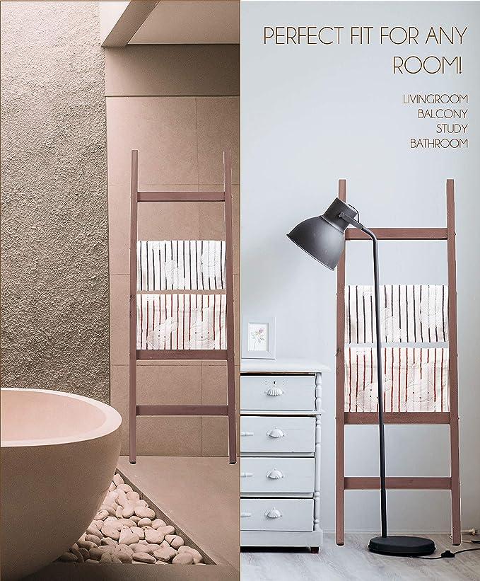BALIBETOV Escalera Decorativa Rustica-Toallero y Sostenedor de Mantas-Decoración del baño y del Dormitorio-Estante de Secado de Ropa de Madera-Estante Blanco-Escalera Estantería (Bordo, 122): Amazon.es: Hogar
