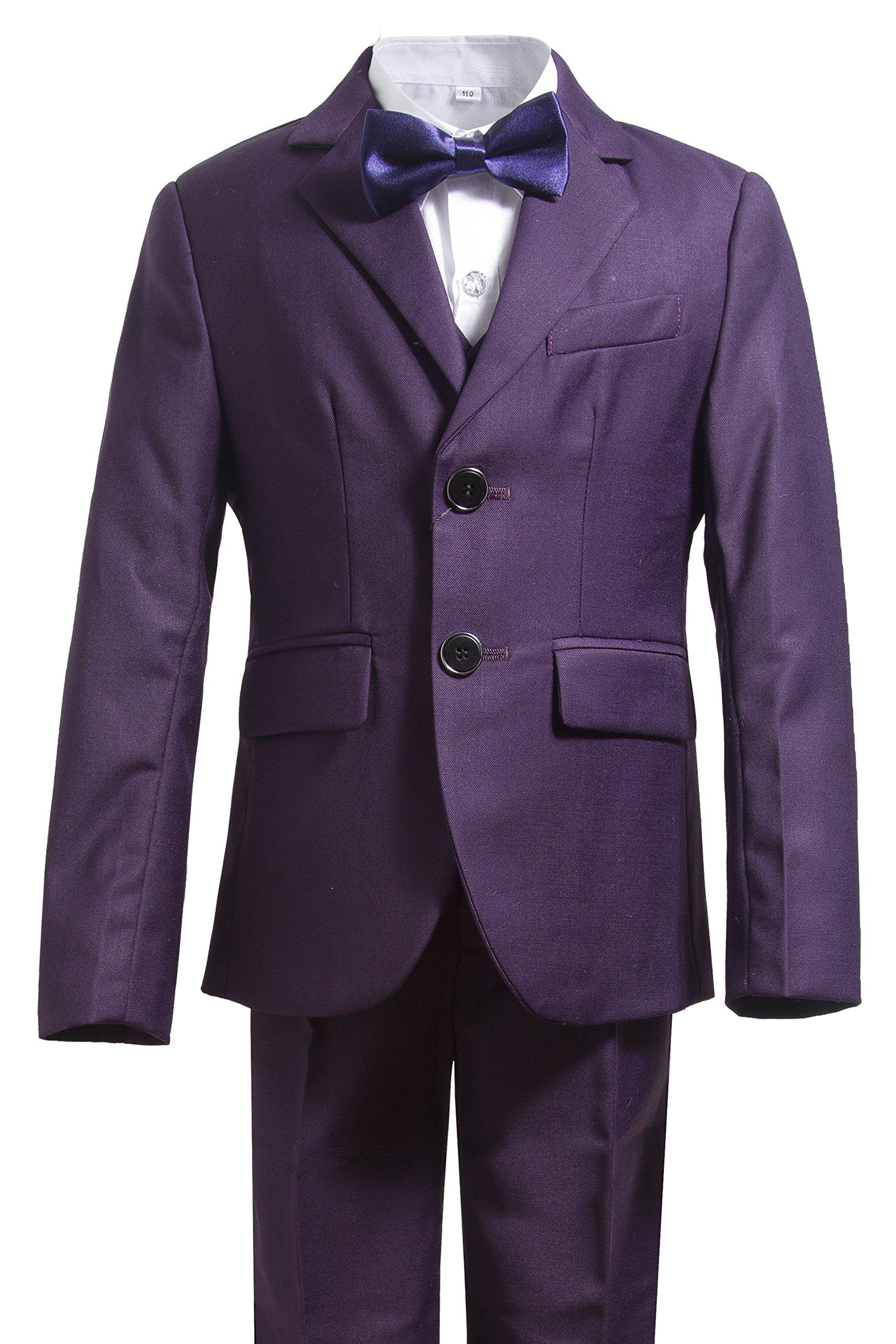 Gele Boys 5 Pieces Formal Suits,Slim Fit Tuxedo Set (6, Purple)
