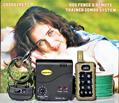 GROOVYPETS Remote Dog Training Shock Collar & Underground/In-Ground Electric Containment Fence System Combo