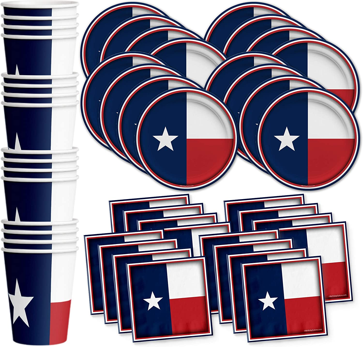 Texas State Flag Birthday Party Supplies Set Plates Napkins Cups Tableware Kit for 16