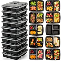 3 Compartment (10 Pack) Premium BPA Free Reusable Meal Prep Containers - Plastic Food Storage Trays with Airtight Lids…