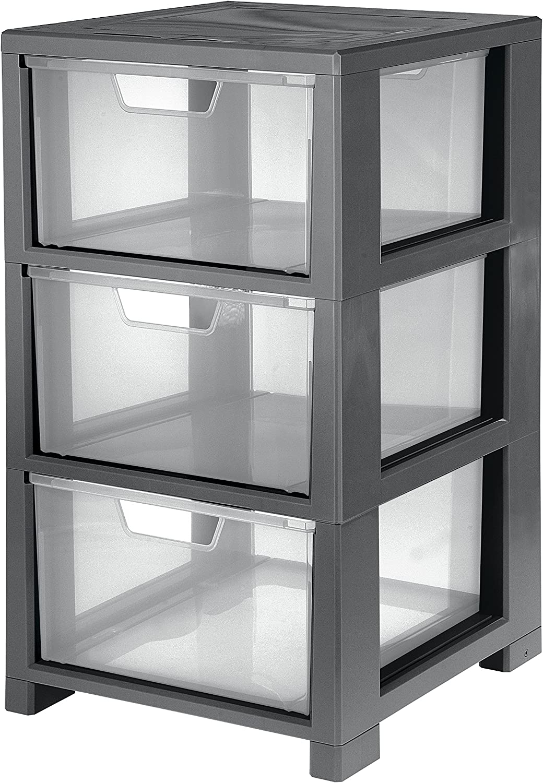 Cep 2259910160 Tour de Rangement Plastique 32,5 x 35 x 59,5 cm Gris et Transparent