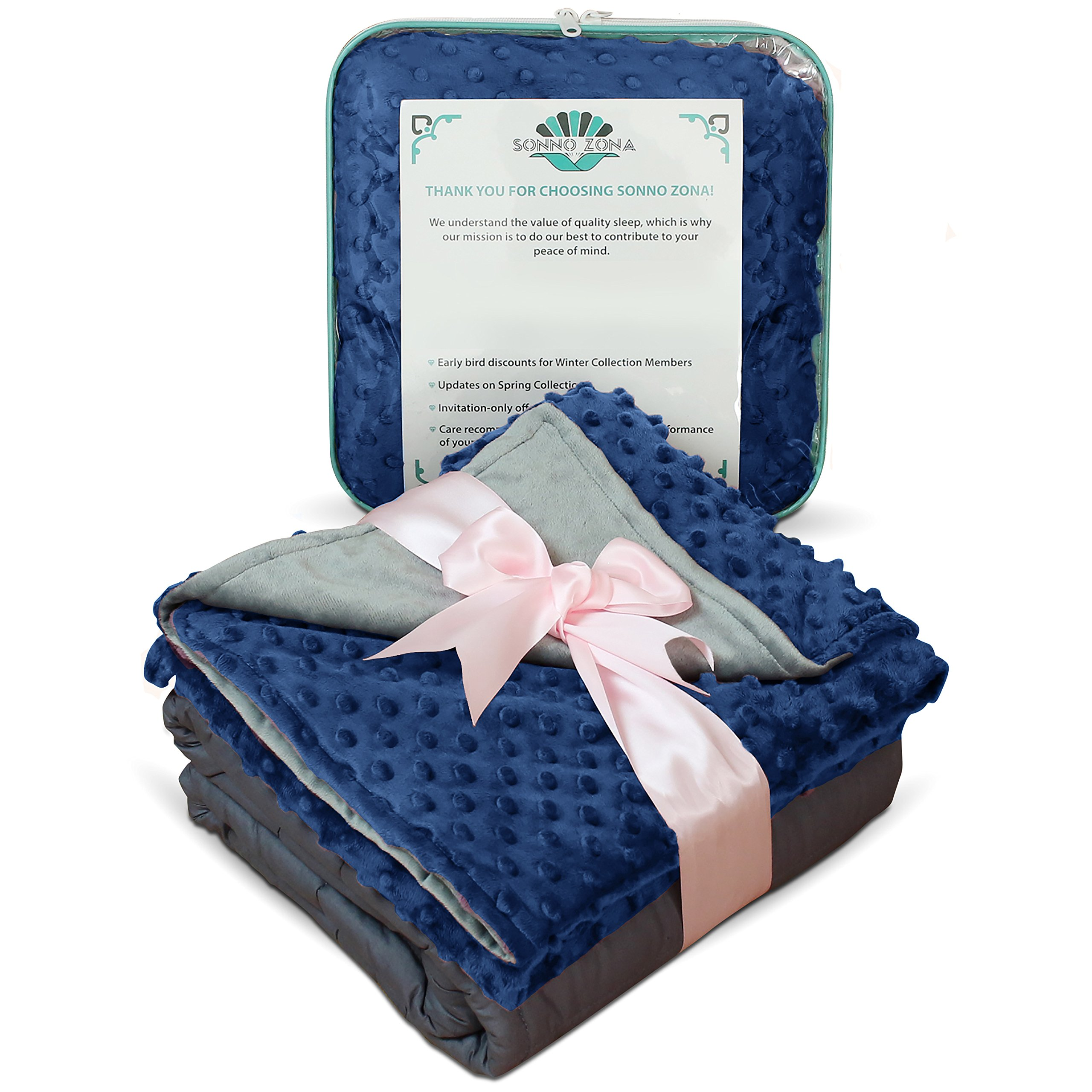 Weighted Blanket Child Size- For Heavy Stress Relief, Autism, Restless Leg Syndrome & natural calm for anxiety - Gravity Blue 36x48 5 LBS- Blankets made from our best Relaxation Sleep Fabric