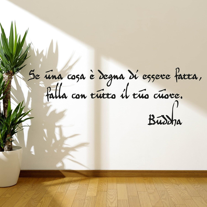 Adesiviamo Buddha Se Una Cosa E Degna M Adesivo Murale 120 x 37 cm Nero PVC