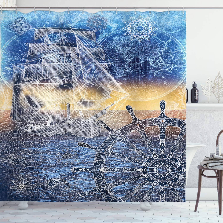 Ambesonne Mandala Shower Curtain, Nautical Print with Mandala Patterns Explorer Ship Map of The World Steering Wheel Sails, Cloth Fabric Bathroom Decor Set with Hooks, 70