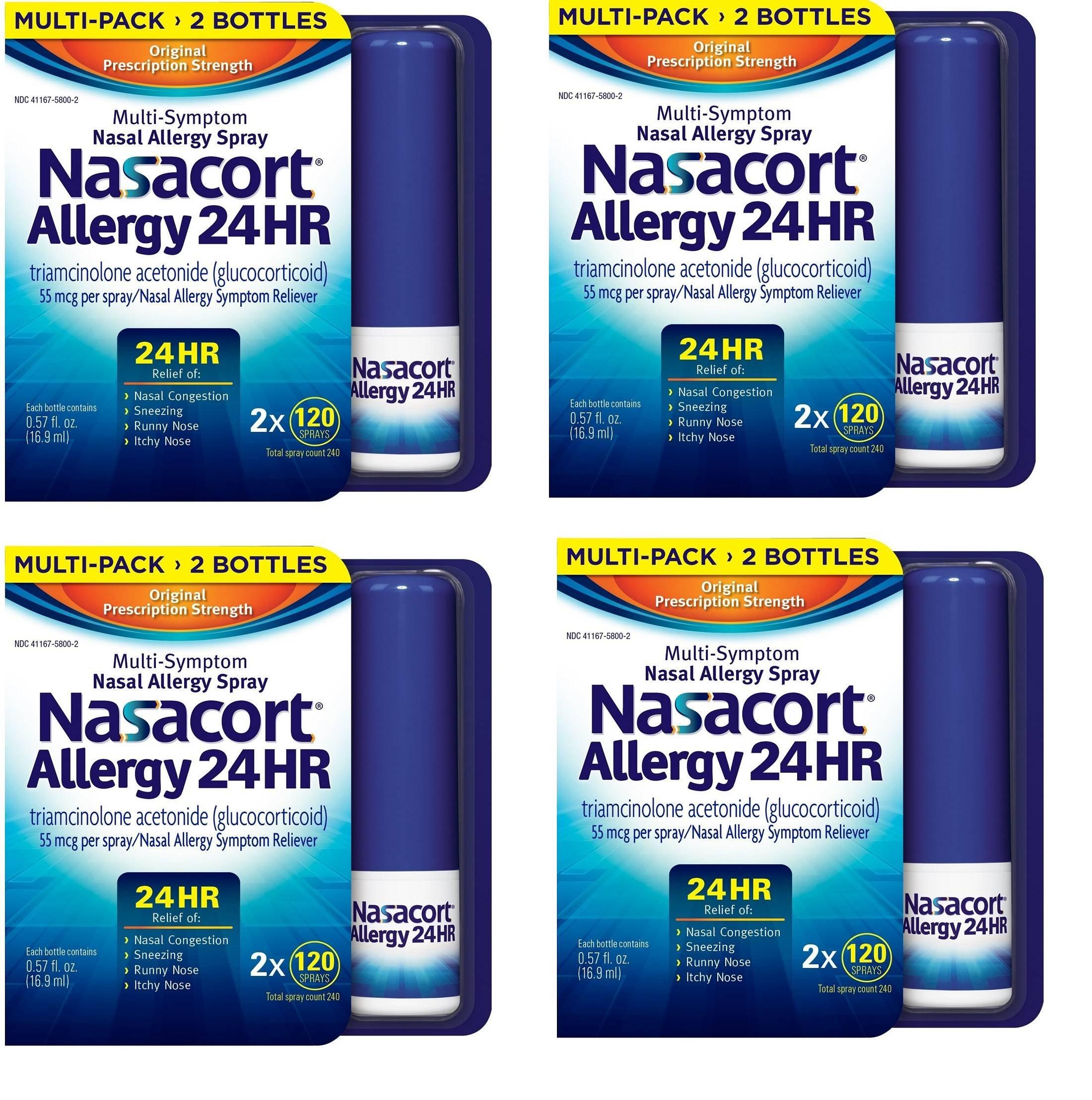 Nasacort Allergy 24 Hour, 16.9 ml, tNwune 4 Pack (240 Sprays)