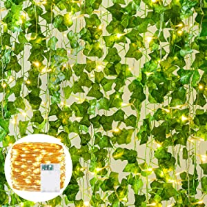 DearHouse 85Ft 12 Strands Artificial Ivy Garland Vine Hanging Garland Fake Leaf Plants with 90 LED String Light, Hanging for Home Kitchen Garden Office Wedding Wall Decor, Light Green