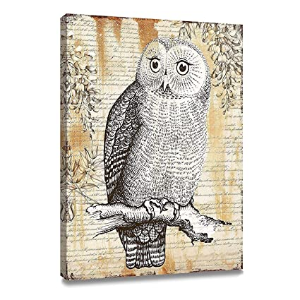 amazon com artkisser original painting of owl pictures on canvas
