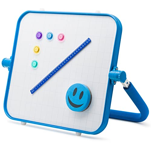 Morvat 2 Sided Tabletop Art Easel With Magnetic Chalkboard Magnetic Whiteboard Includes 4 Markers 12 Chalk Sticks 1 Chalk Holder 12 Magnets 1 Ruler 2 Erasers Board Size 17X15 Color Blue