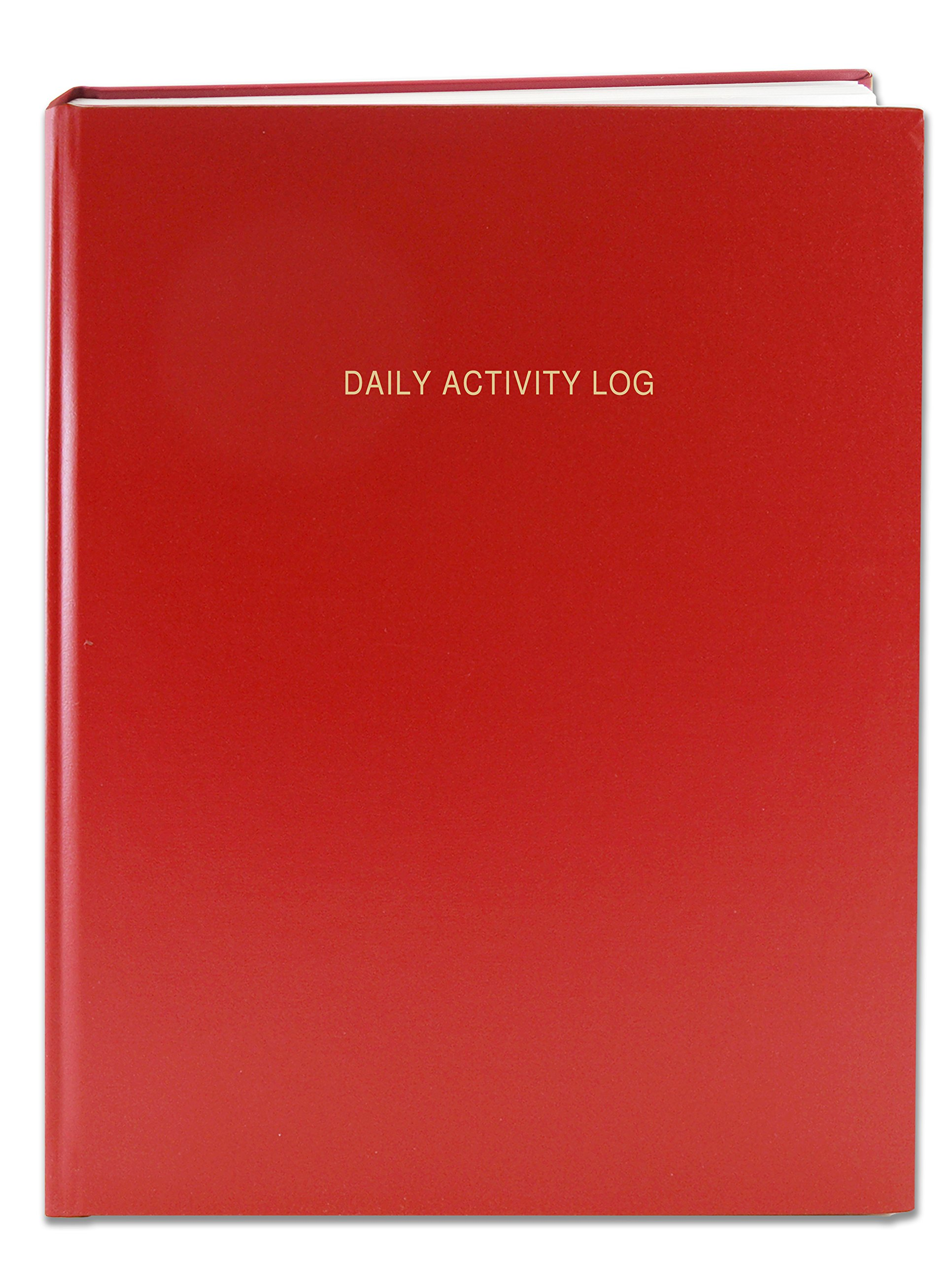 BookFactory Daily Activity Log Book / 365 Day Log Book (384 Pages - 8 7/8'' x 11 1/4'') / 365 Page Diary, Red Cover, Smyth Sewn Hardbound (LOG-384-DAY-A-LRRT32)