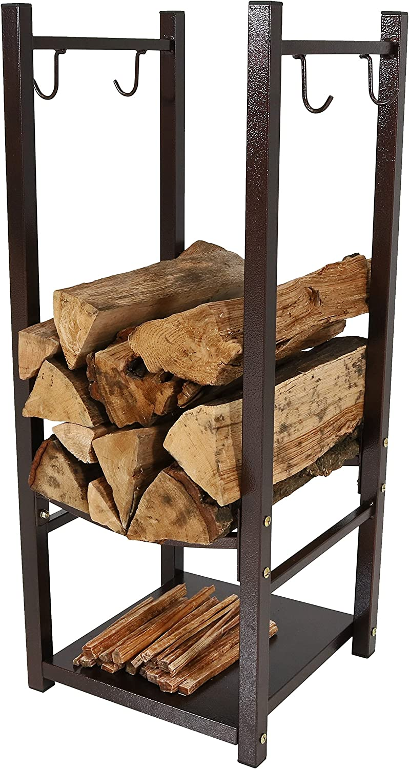 Sunnydaze Firewood Log Rack with Tool Holders, Indoor or Outdoor Wood Storage, Bronze