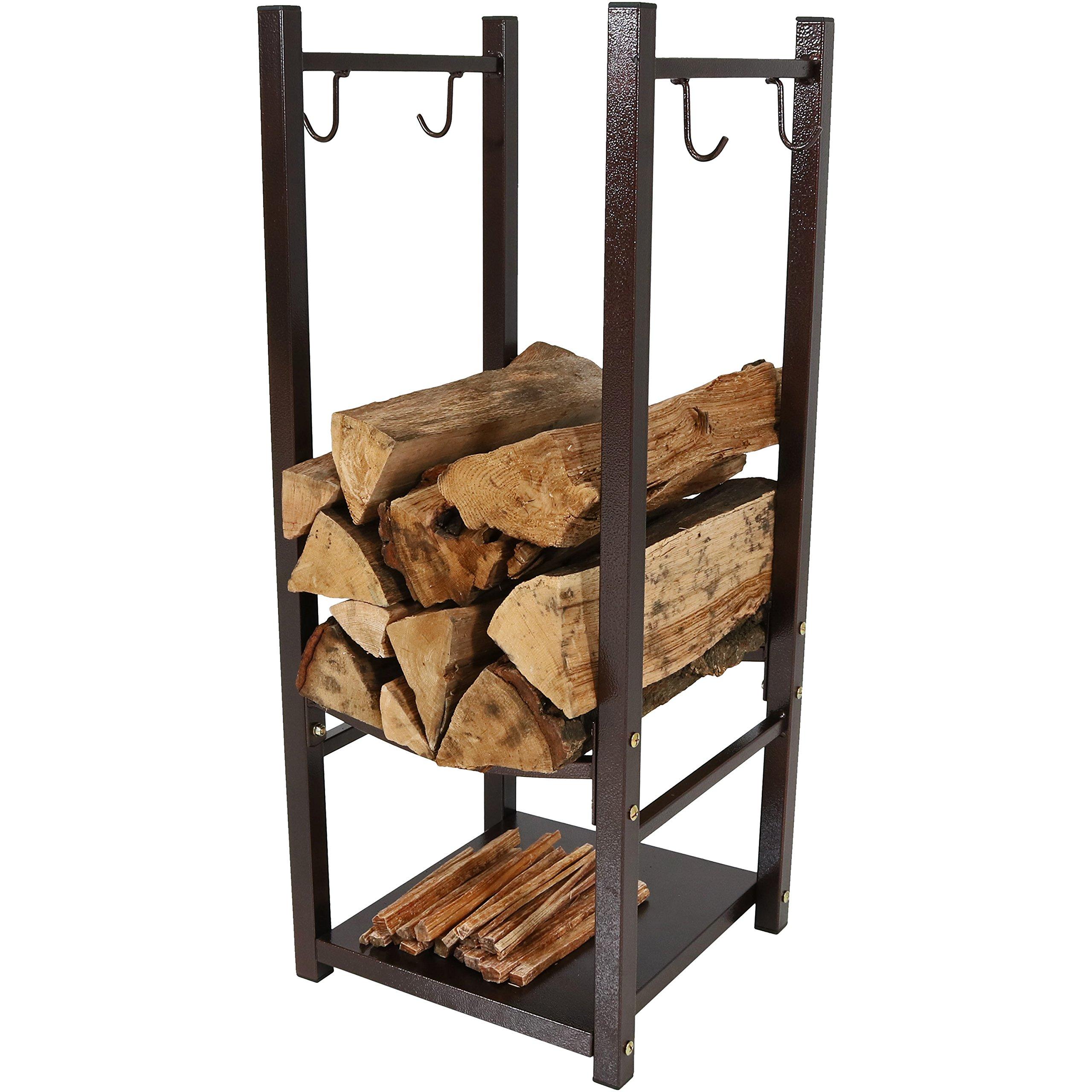 Sunnydaze Firewood Log Rack with Tool Holders, Indoor or Outdoor Wood Storage, Bronze