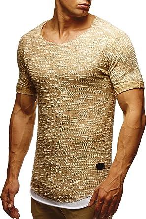 LEIF NELSON Herren Basic T-Shirt 2in1 Hoodie Longsleeve tiefer Rundhals  Ausschnitt Kurzarm Shirt Sweatshirt