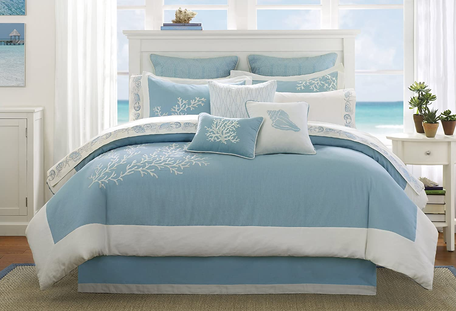 Harbor House Coastline Queen Size Bed Comforter Set - Blue, Jacquard Coastal Coral – 4 Pieces Bedding Sets