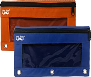 Mr. Pen - Pencil Pouch, Blue and Orange, 2 Fabric Pencil Pouches, Binder Pockets, Pencil Case, Binder Pouch, Pencil Bags, Pencil Pouch 3 Ring, Pencil Bags with Zipper, Zippered Pencil Pouch, Canvas