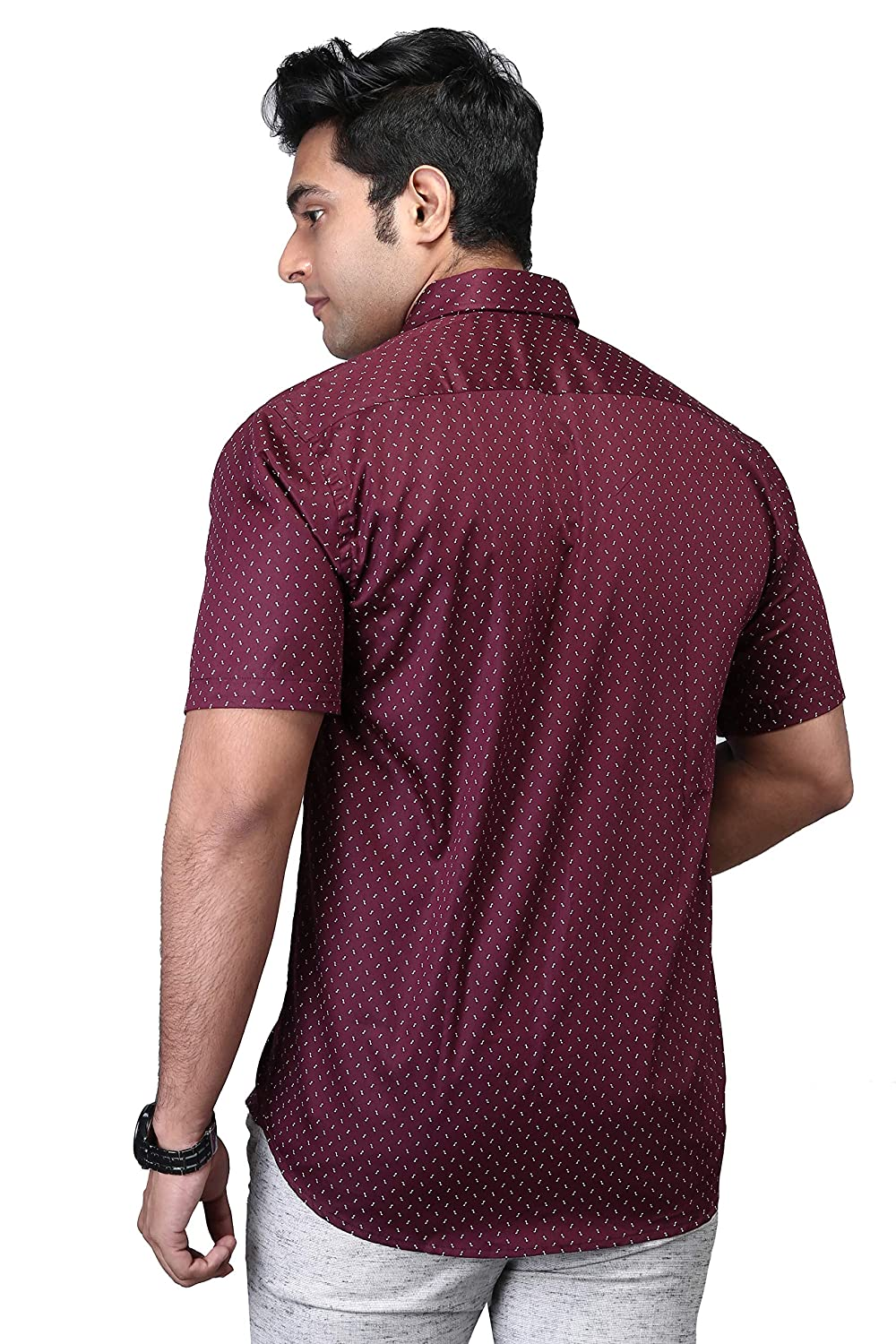 5a9d3ffe Printed Casual Half Sleeve Shirt for Men|Printed Half  Shirt|Cotton|Maroon|Regular Fit|40,42,44|Men Casual |Maroon, White