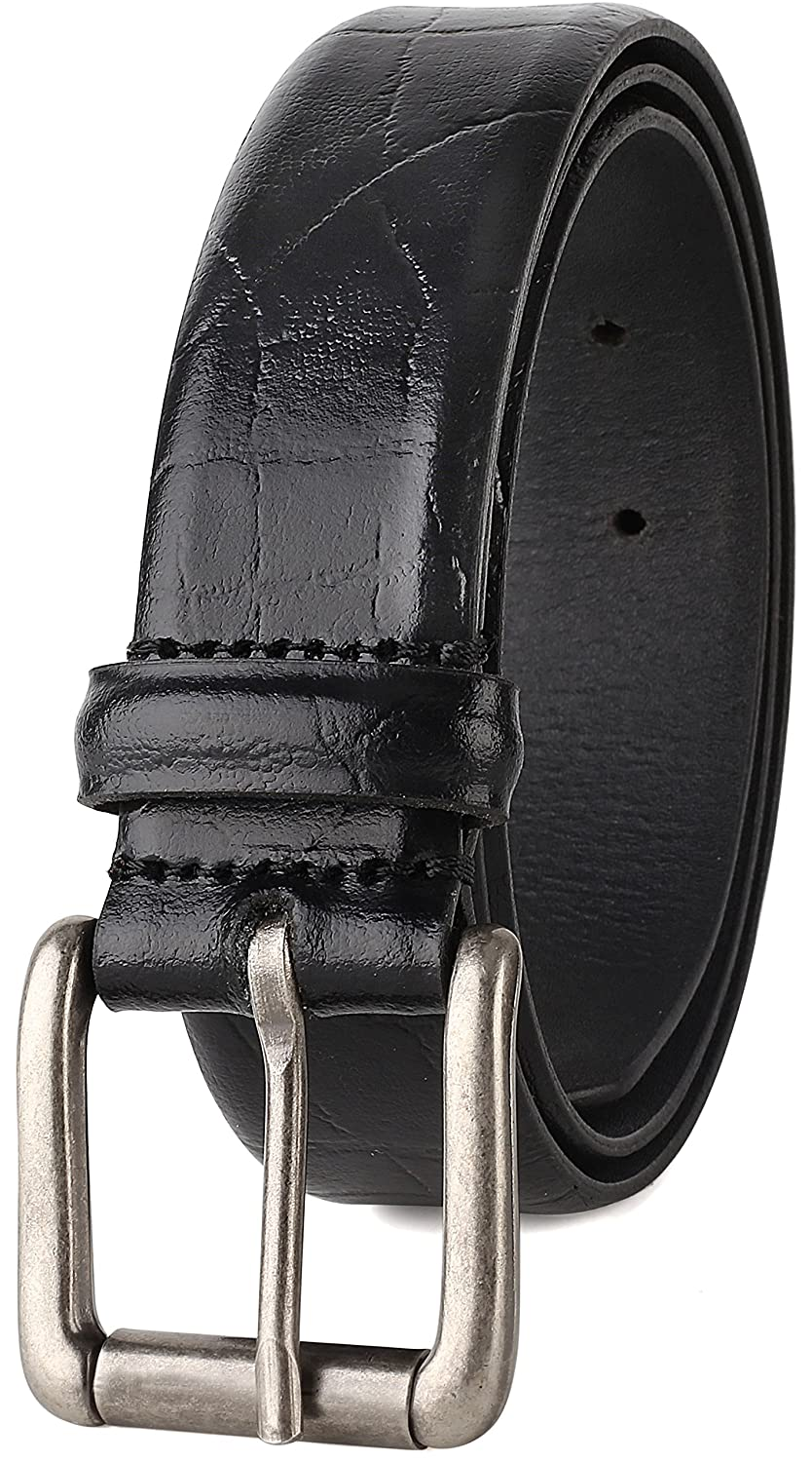 USA 1-3//8 Wide Mens Leather Classic Dress belt Roller Buckle