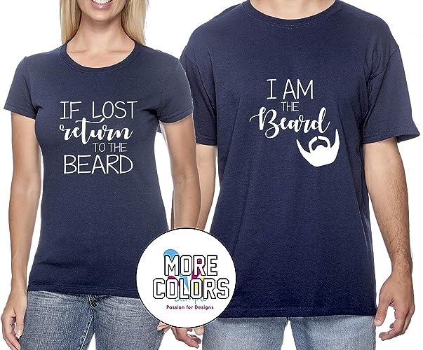 b3edd42e4 Amazon.com: If Lost Please Return to the Beard Couple T Shirt - Funny  Matching Couples T-Shirts - Graphic Tees TShirt Humor Shirt -HoneyMoon:  Handmade