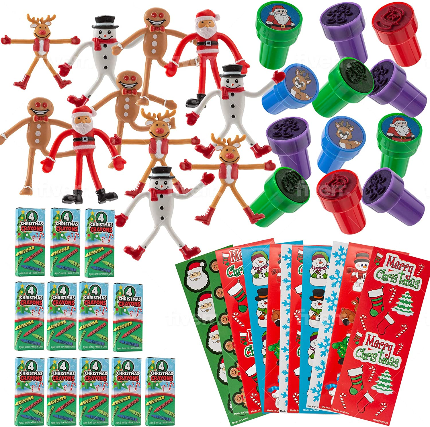 FAVONIR Christmas Party Favor Stuffers 84 Pcs Goody Bag Assortment Bendable Characters, Self-Ink Stampers, Crayons, Colorful Holiday Theme Sticker Assortment Kids Activity Toys And Fun Reward Prizes