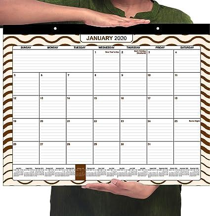 Calendario 2020 - (43,2 cm x 55,8 cm) Grande Mensual English Calendario de Pared - January 2020 to December 2020, Calendario Academico para Escolar y Oficina: Amazon.es: Oficina y papelería