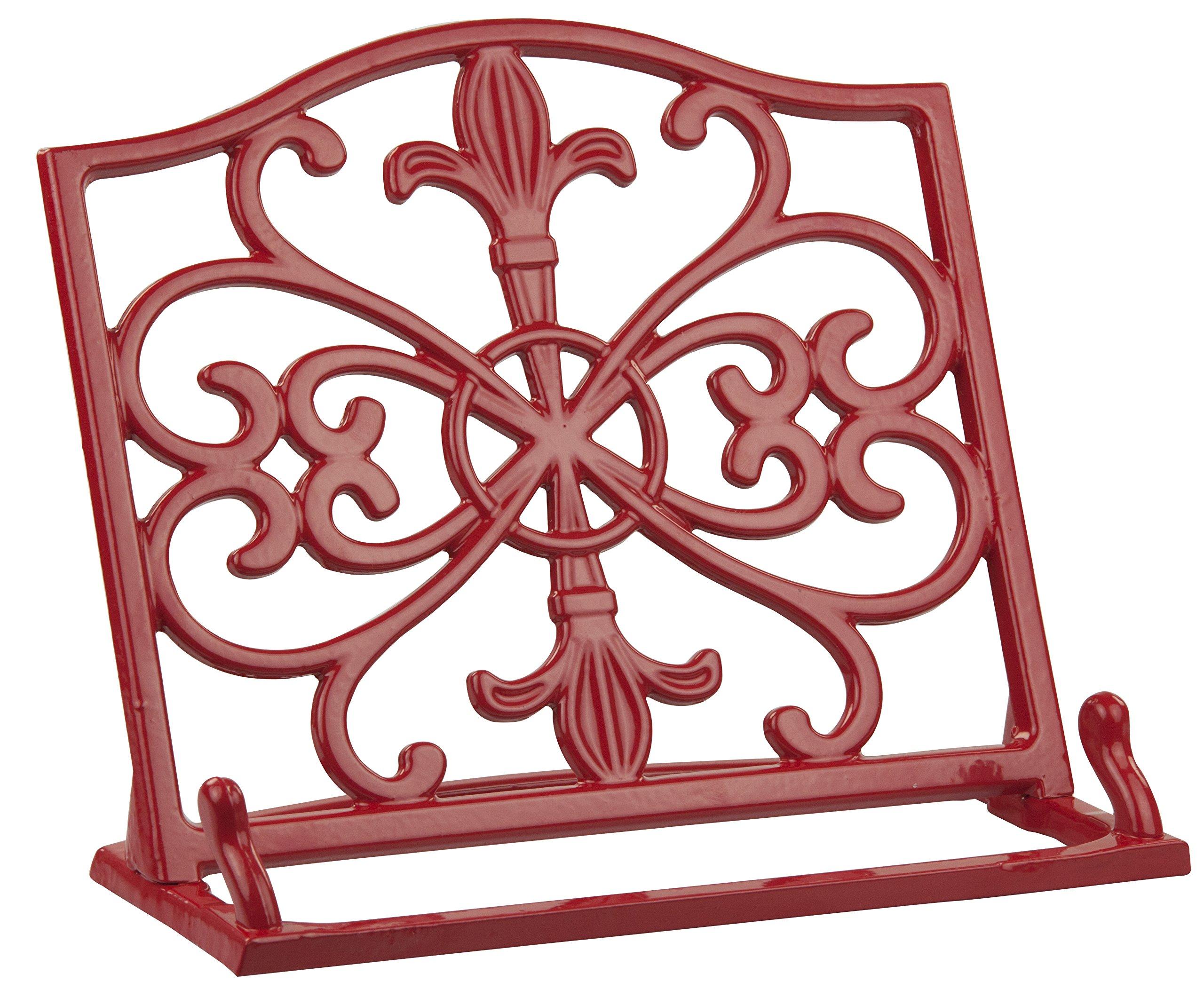 Home Basics Cast Iron Fleur De Lis Cookbook Stand, Red