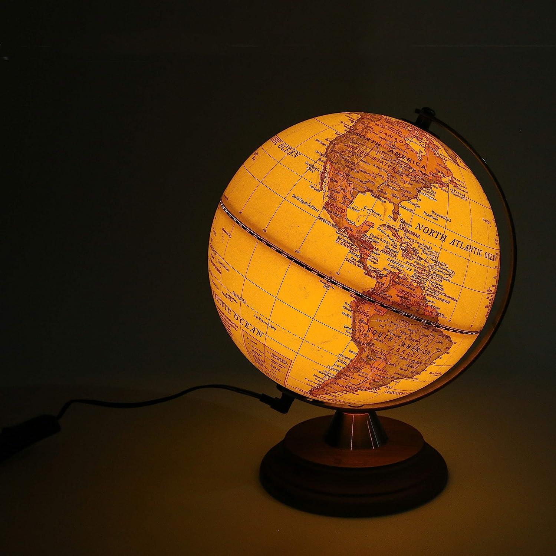 Giorno e notte Decorazione domestica per bambini mappamondo da scrivania 2 in 1 Lampada LED illuminata Mappamondo illuminato 20 cm Mappamondo antico Supporto in legno Arco in metallo