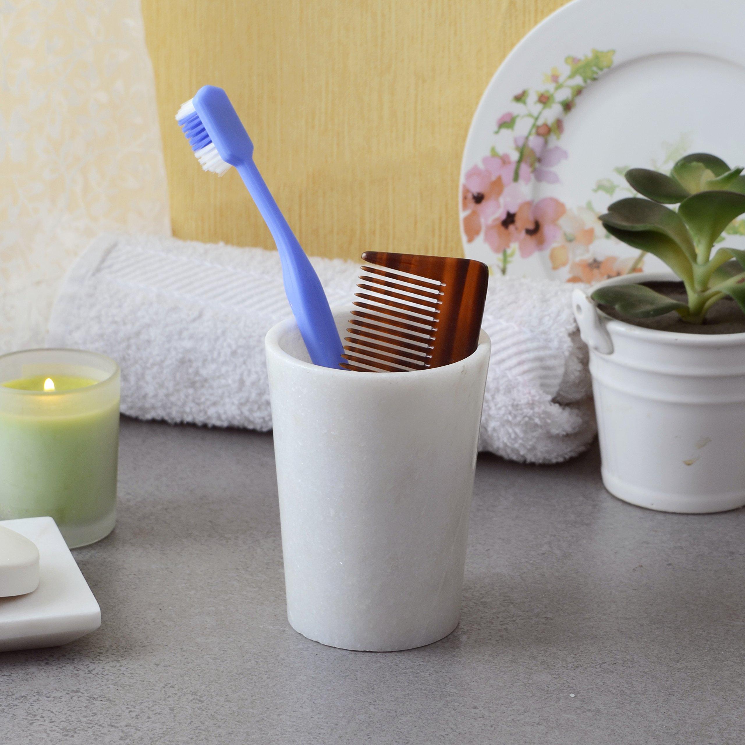 Genuine White Marble Stone Tumbler Tooth Brush Comb Holder