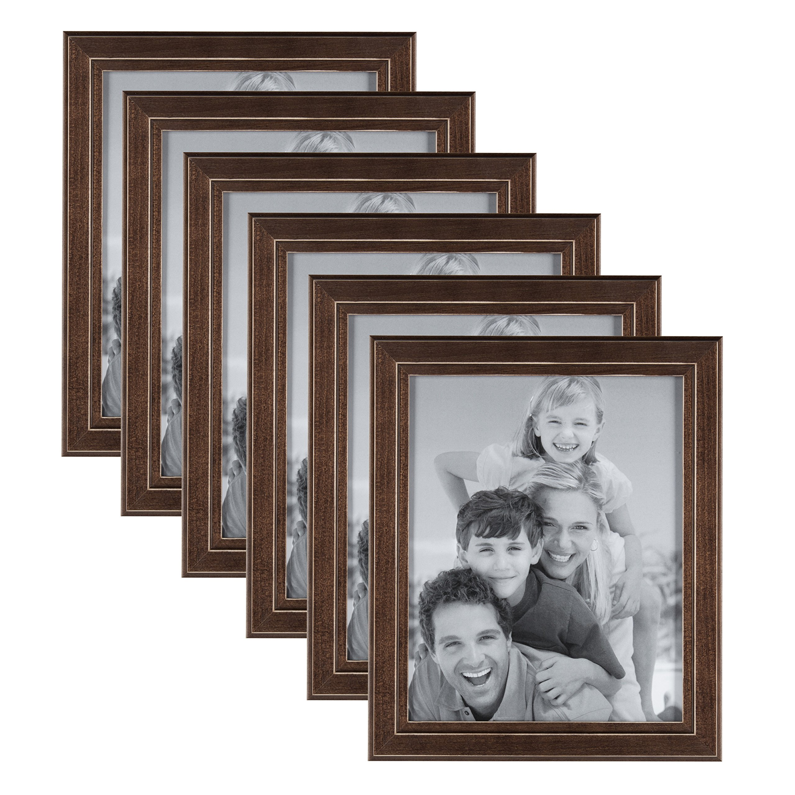 DesignOvation Kieva Solid Wood Picture Frames, Distressed Espresso Brown 8x10, Pack of 6 by DesignOvation