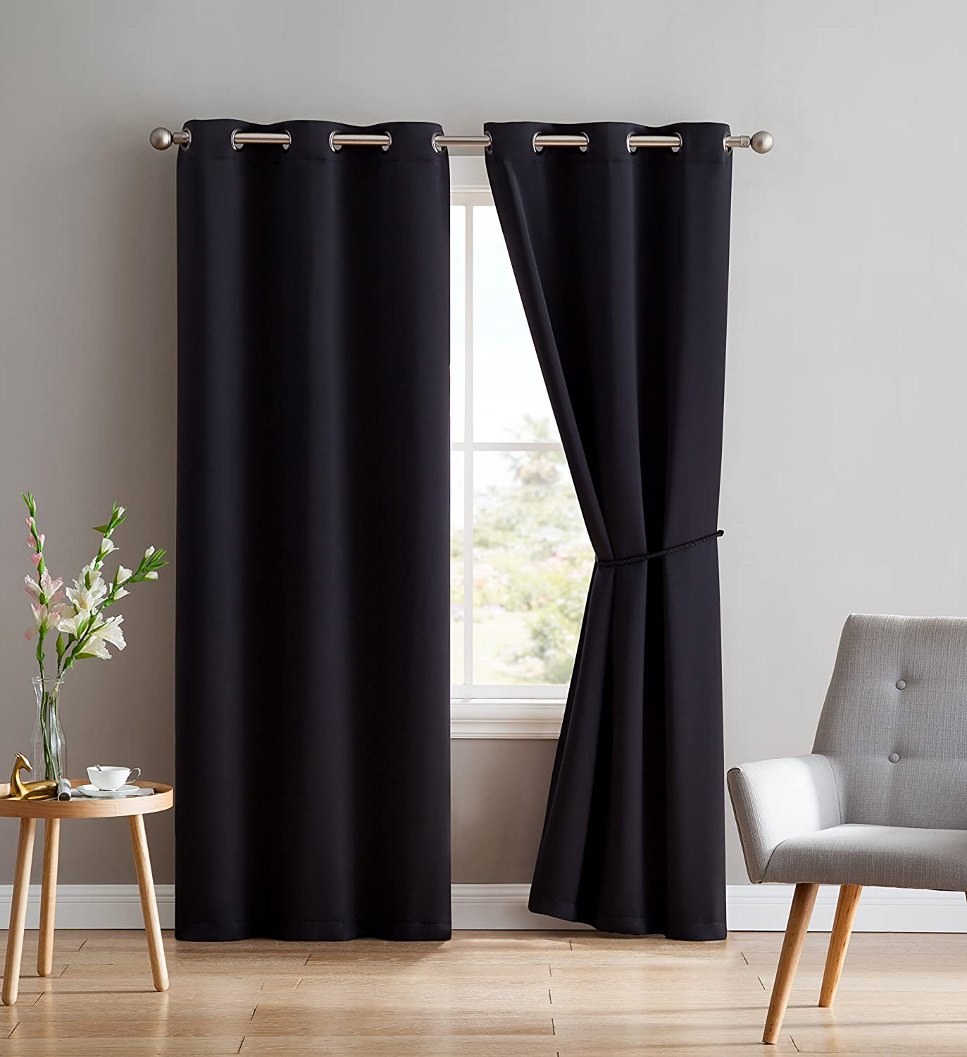 Nicole - 2 Premium Grommet Blackout Window Curtain Panels With Tiebacks Black