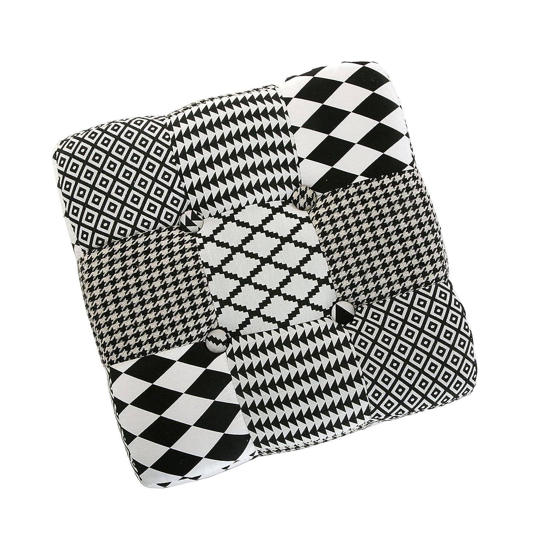 Versa 19501302 Sgabello cubo puff sedia W/&B,35x35x35 Bianco Nero Grigio