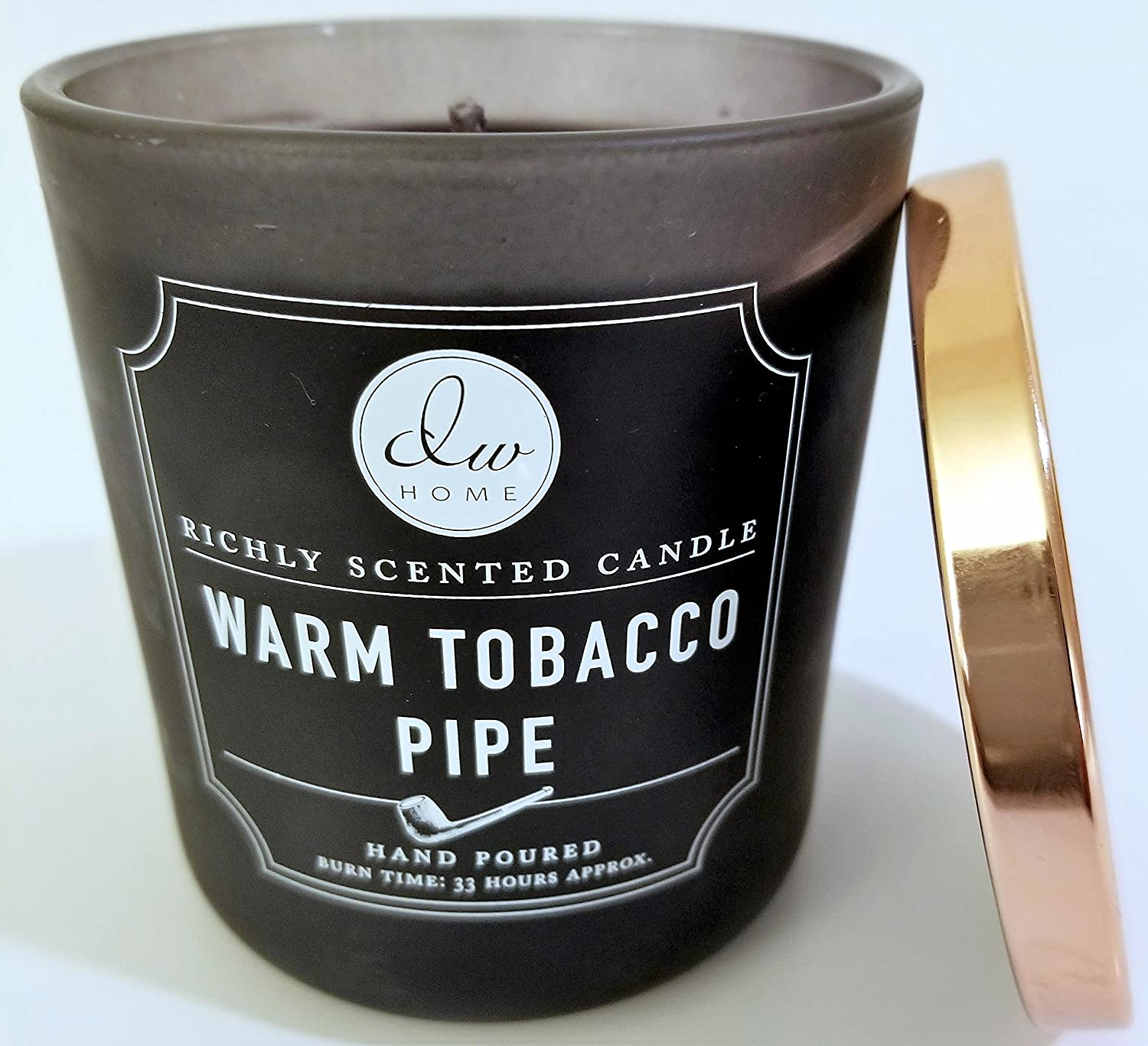 9.21 Oz. Medium Warm Tobacco Pipe Candle in Glass Jar With Copper Lid