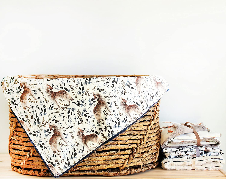 Woodland animals wolf organic baby blanket