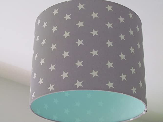 Handmade minky grey star and cool mint lined fabric drum lampshade lightshade