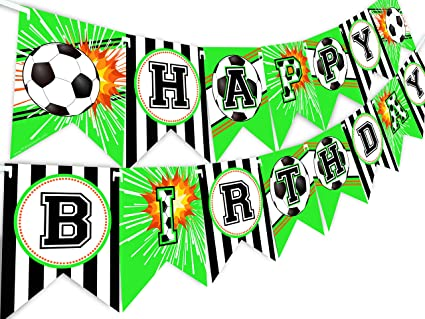 Amazon.com: Pancarta de cumpleaños para fútbol con texto en ...