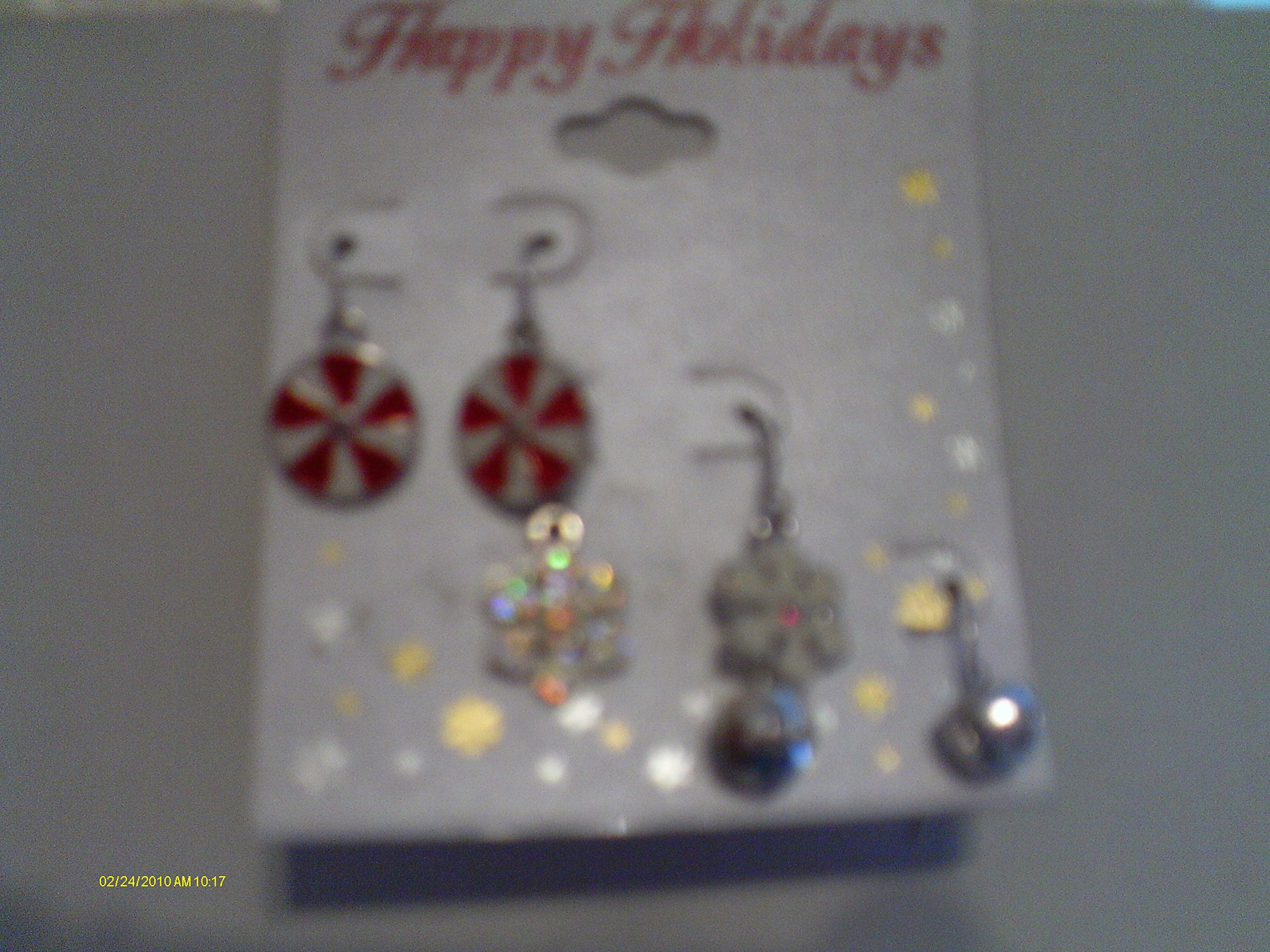 3 Pairs Happy Holidays Earrings