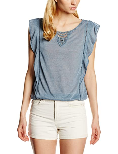 Tom Tailor Denim volantshirt with Crochet, Camiseta para Mujer, Blau (Dusty Mid Blue