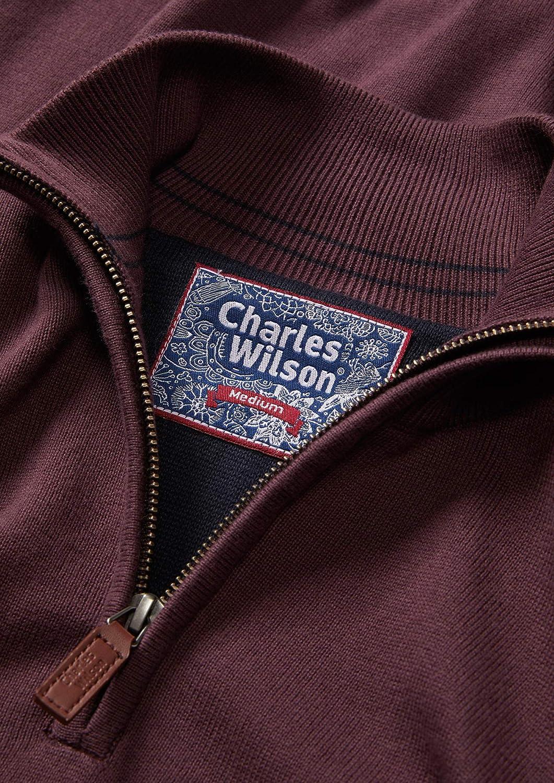 Charles Wilson Mens Fine Knit Cotton Zip Neck Jumper