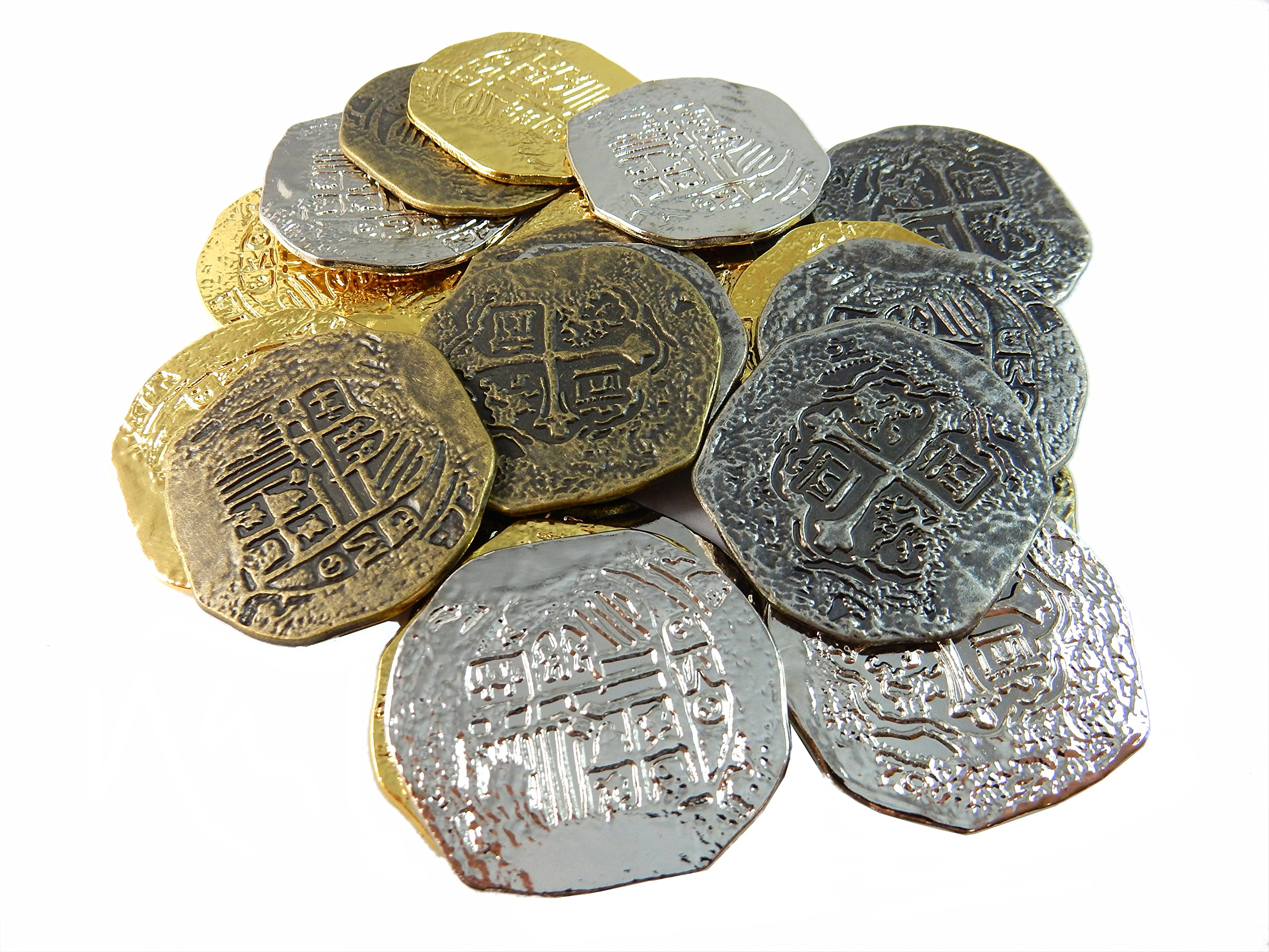 Large Metal Pirate Treasure Coins - 1000 Gold and Silver Doubloon Replicas - Toy Pirate Coins
