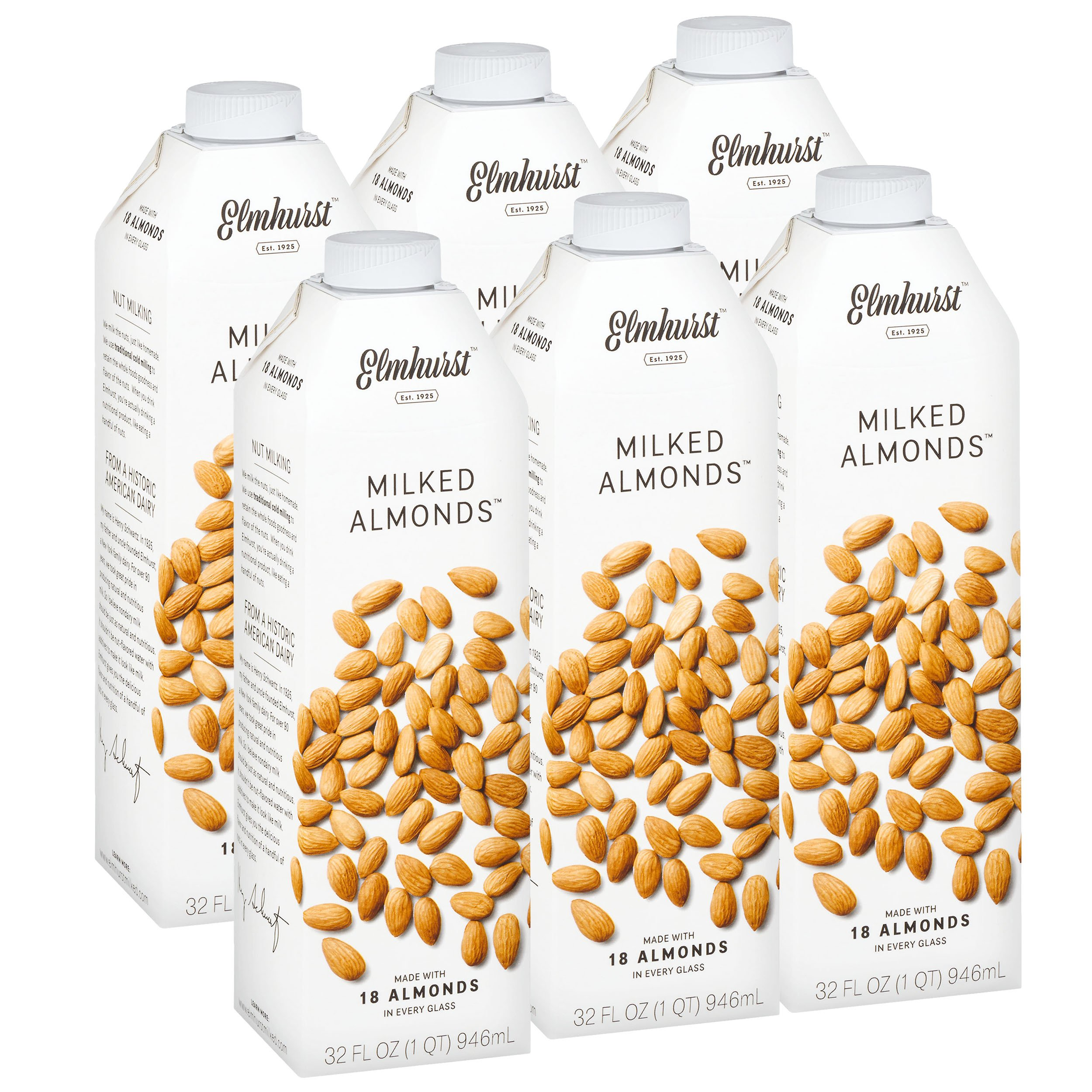 Elmhurst Milked - Almond Milk - 32 Fluid Ounces (Pack of 6) Only 5 Ingredients, 4X the Protein, Non Dairy, Keto Friendly, No Added Gums or Emulsifiers, Vegan