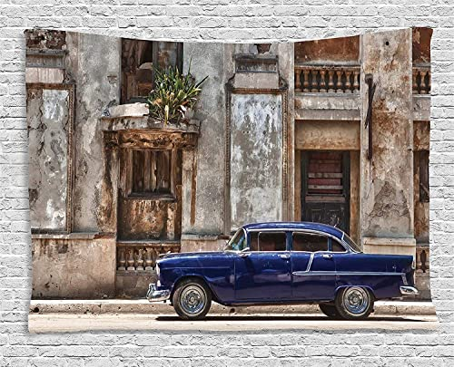 Ambesonne Vintage Tapestry, Old Car in Front of an Abandoned Building in Havana Cuba Urban Scenery, Wide Wall Hanging for Bedroom Living Room Dorm, 80 X 60 , Blue Grey