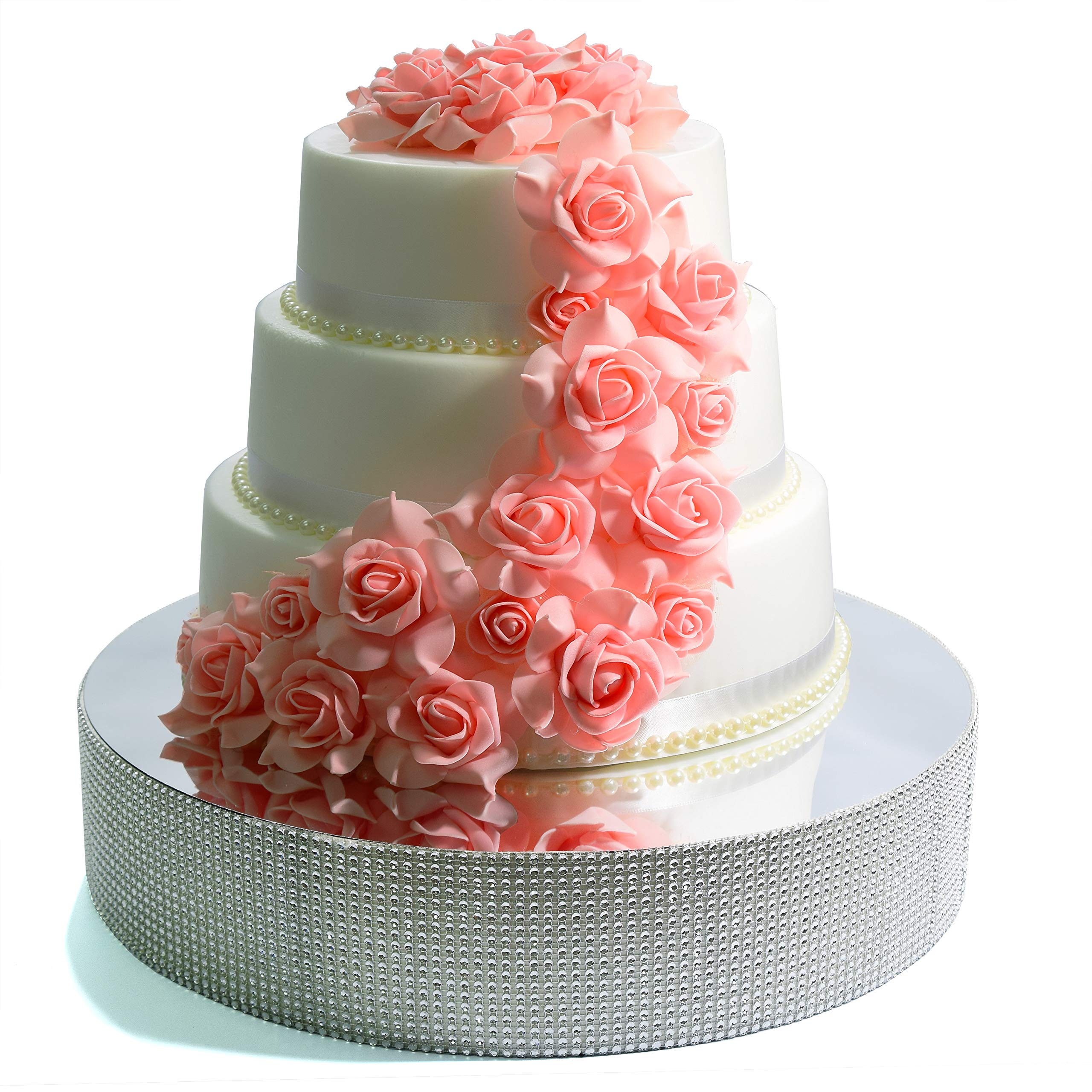Cakebon Wedding Cake Stand - Gorgeous Cake Display Centrepiece for Wedding Cakes, Cupcakes and Desserts (Silver - 18 inches - Round)