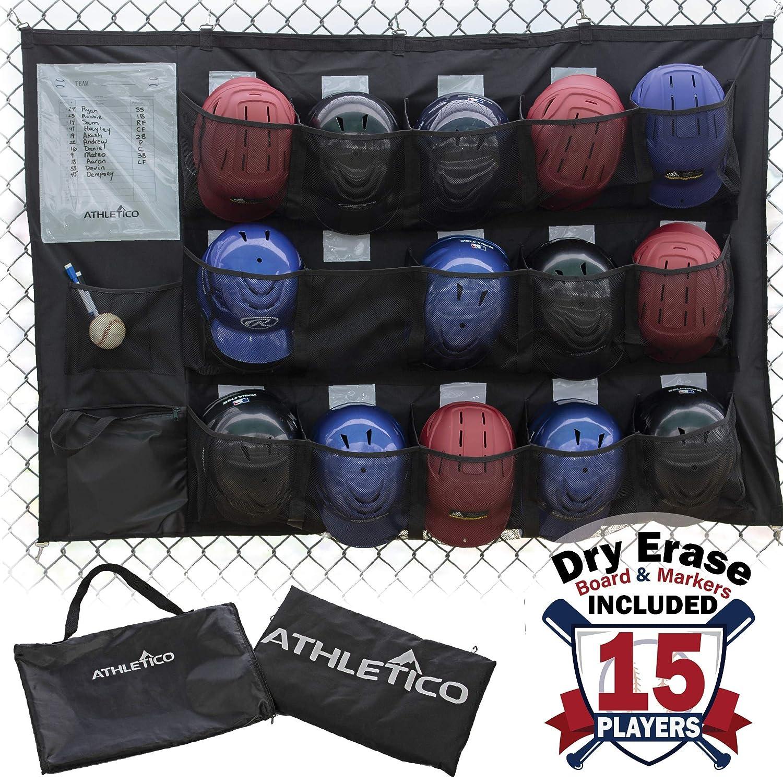 Athletico 15 Player Dugout Organizer Hanging Baseball Helmet Bag To Organize Baseball Equipment Including Gloves Helmets Batting Gloves Balls