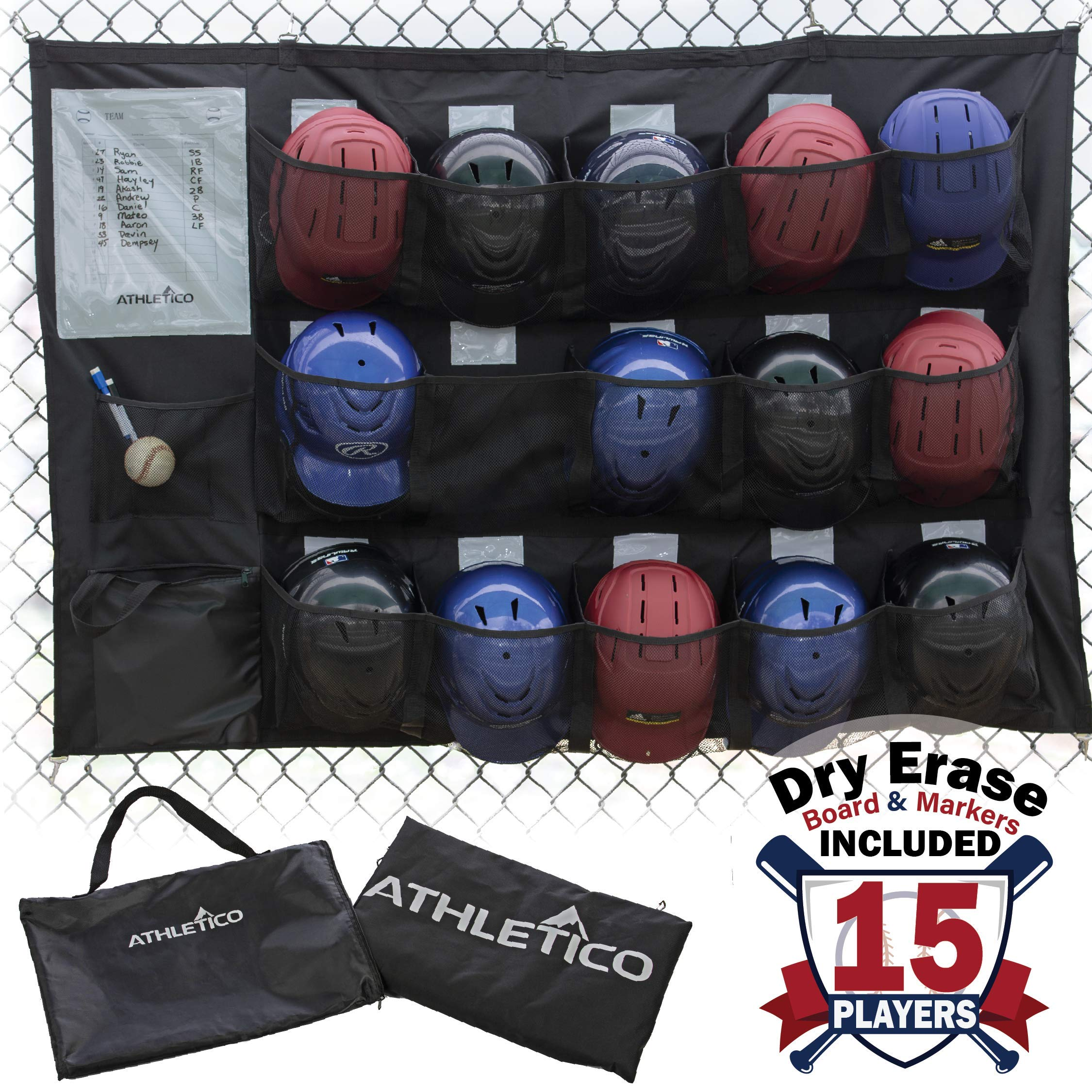 Athletico 15 Player Dugout Organizer - Hanging Baseball Helmet Bag to Organize Baseball Equipment Including Gloves, Helmets, Batting Gloves, Balls, More by Athletico