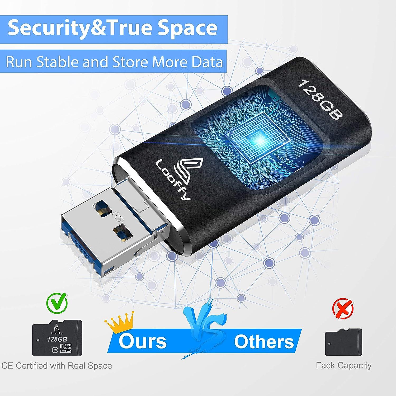Looffy Memoria USB per iPhone Chiavetta USB 32GB iOS Flash Drive USB 3.0 Pendrive per iPhone iPad Android Smartphone Tablet PC Macbook 4 in 1