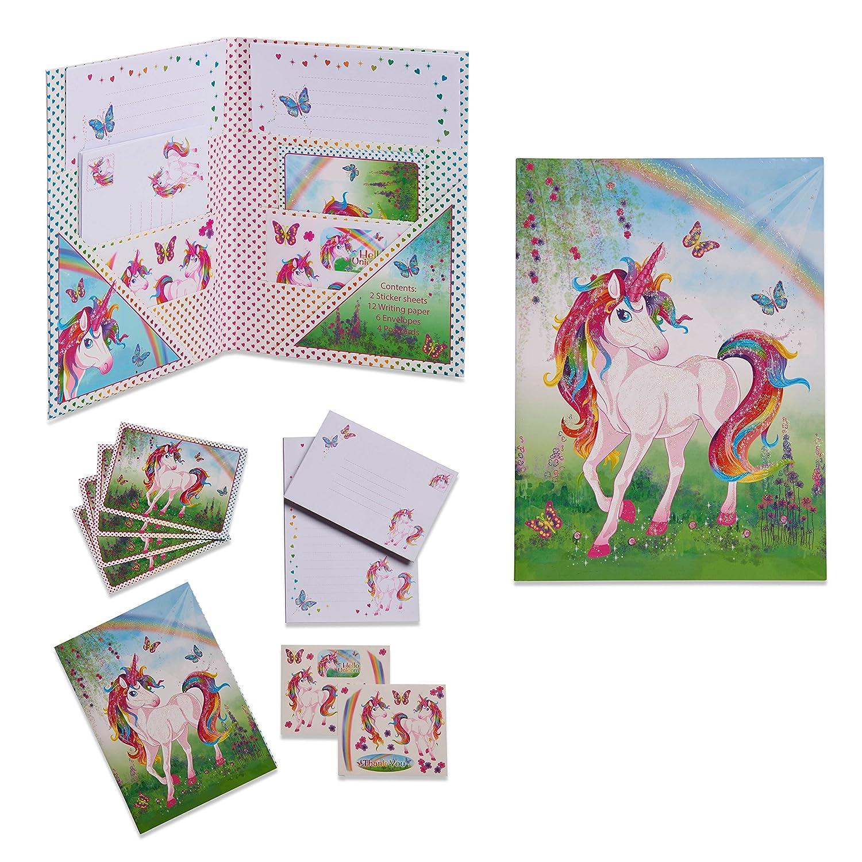 Set de papier à lettres magique licorne - Papeterie pour enfant - Set de Ecriture pour les Fille et garcon - Lucy Locket