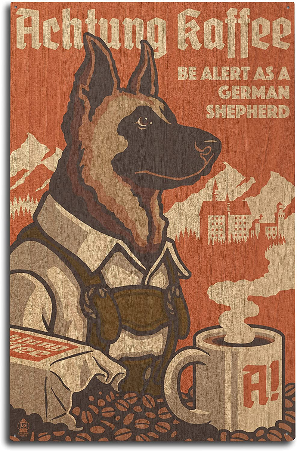 Lantern Press German Shepherd - Retro Coffee Ad (10x15 Wood Wall Sign, Wall Decor Ready to Hang)