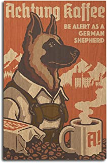 product image for Lantern Press German Shepherd - Retro Coffee Ad (10x15 Wood Wall Sign, Wall Decor Ready to Hang)